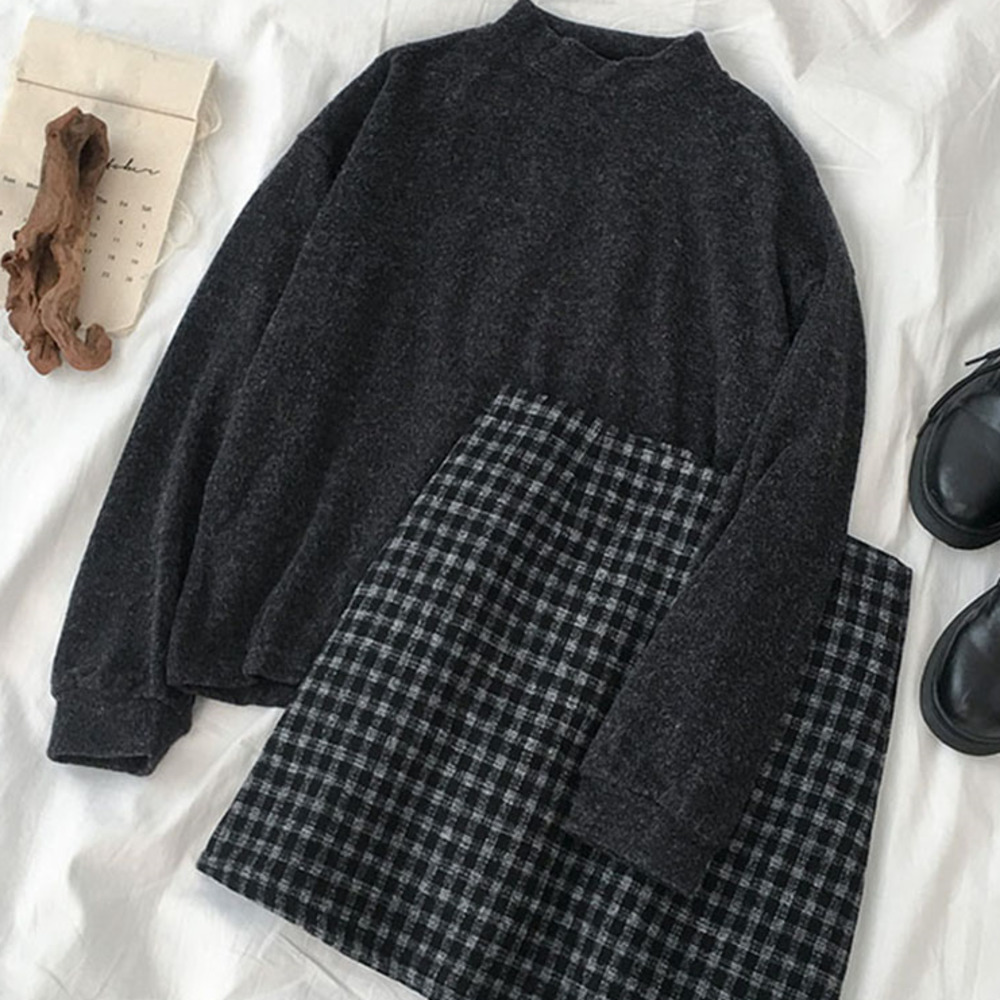Elegant Plaid Skirt Set Women Two Pieces Set Women Casual Woolen Long Sleeve Sweater+Lattice Zipper Fly Mini Skirt Matching Set