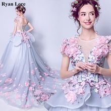 Prom-Dresses Evening-Dress Short-Sleeves Appliques-Flowers A-Line Gray Party Formal Elegant