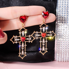 S925 Silver Needle Baroque Cross Red Love Earrings European and American Fashion Atmosphere Female