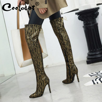 Coolcept Sexy Thin High Heels Shoes Women Over The Knee Boots Print Pointed Toe Long Boots Women Footwear Plus Size 33-43