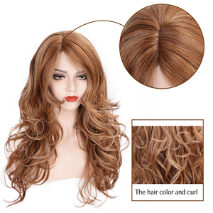 Image 2 - AISI HAIR Long Wavy Synthetic Wig Light Brown Mixed Blonde Wigs for Black Women Side Part Natural Wig Heat Resistant Hair