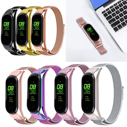 Oulucci mesh loop High Quality Fashion Magnetic Stainless Steel Watch Band Strap + Film For Xiaomi Mi Band 3/4/5 Male Clock Gift