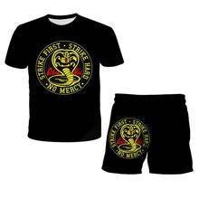 3D Print Thai Cobra Kai T-Shirt 2021 Summer Baby Clothes Top+Shorts 2pcs Sets Boy Suits Toddler Girls Casual Kids T-Shirt Kawaii