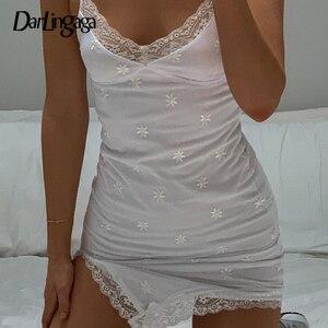 Darlingaga Strap V Neck Floral Print White Dress Mini Fashion Lace Patchwork Sleeveless Sexy Dresses Side Split Sundress Clothes