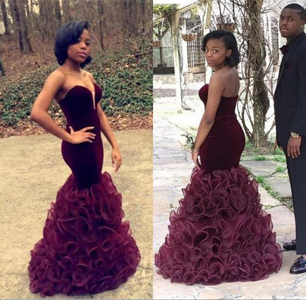 African Arabic Burgundy Mermaid   Prom     Dresses   Floor Length Velvet Pageant Party Wear Sweetheart Ruffle Evening Celebrit Gowns