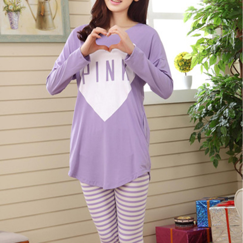 Fashion Hot Sales Spring New Arrival Women Long Sleeve Stripe 2 Pieces Lounge Sleepwear   Pajama     Sets   For 2019 A66