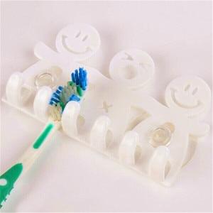 Image 5 - BalleenShiny Cute Cartoon Bathroom Kitchen Smiling Face Toothbrush Towel Storage Rack Sucker Hook Wall Organizer Holder