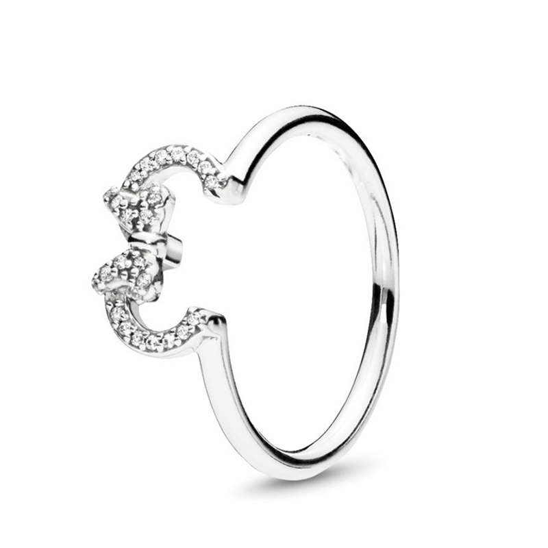 Boosbiy 2019 New Arrival Fine Silver Color Minnie & Mickey Silhouette Finger Rings Crystal Wedding Rings For Women Party Gift Pakistan