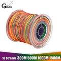Многоцветная плетеная леска из 16 нитей  супер мощная японская многонитевая полиэтиленовая леска 60LB-310LB 300 м/500 м/1000 м/1500 м