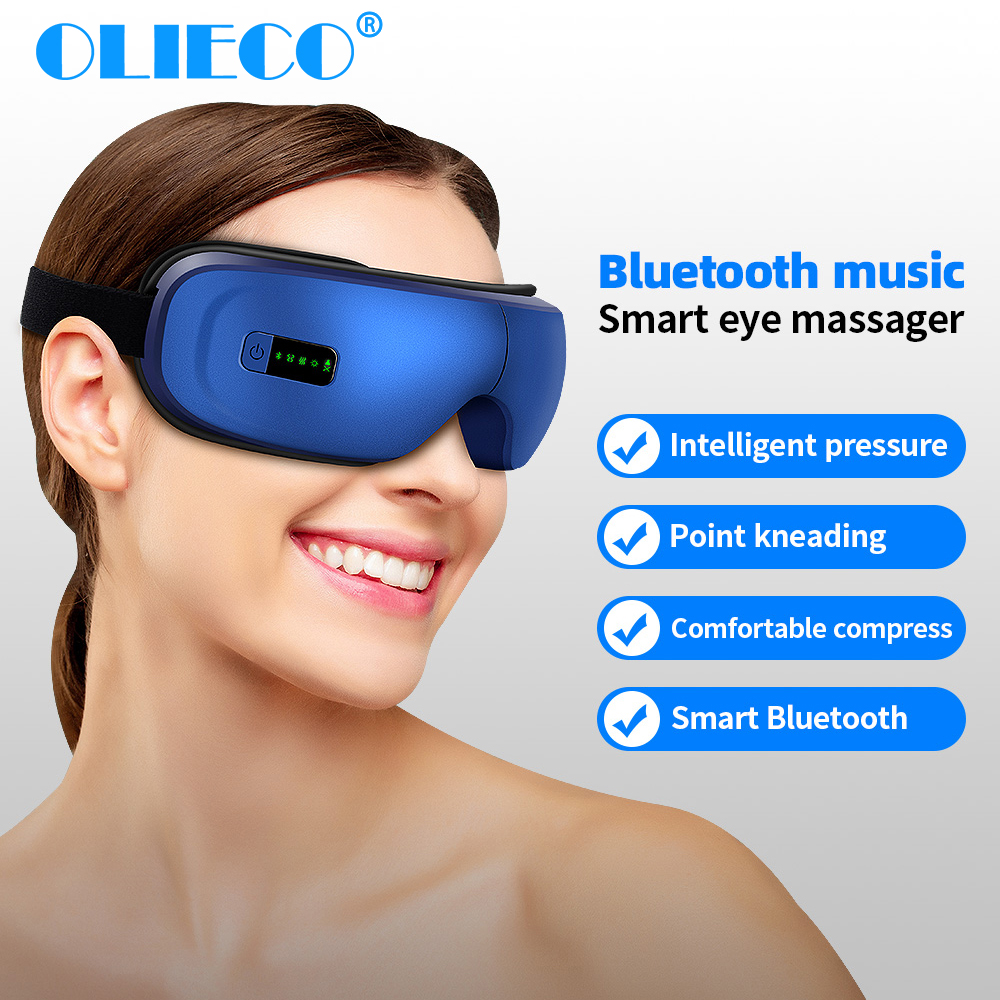 Rechargeable Eye Therapy Massager Electric Bluetooth Music Eye Massage SPA Collapsible Air Pressure Heating Eye Fatigue Relieve
