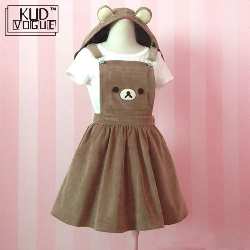 Japanese Kawaii Rilakkuma Lolita Overall Dress Cute Bear Embroidery Hat Ball Gown Harajuku Lolita Dress Harajuku Cute Warm Dress