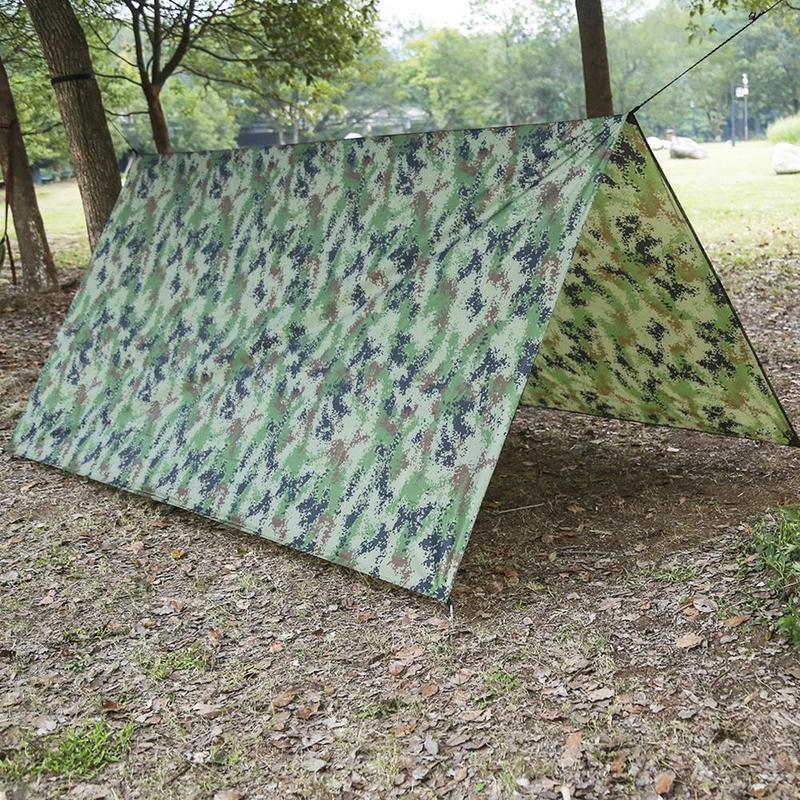Outdoor Shelter Ultralight Tarp Camping Survival Sun Shelter Multifunctional Waterproof Beach Awning Beach Mat Rain Shelter