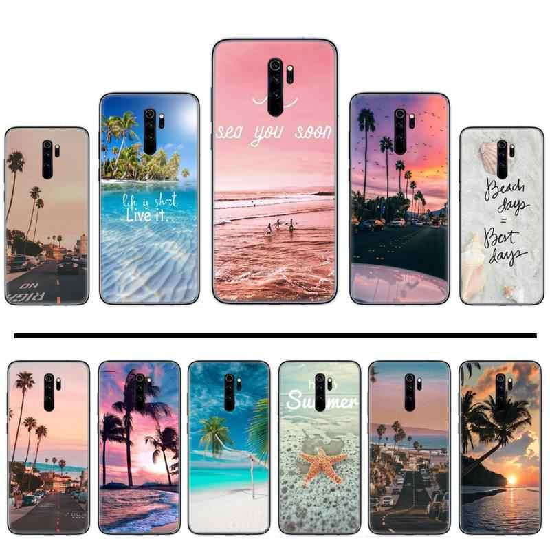 Scena di estate della spiaggia al Tramonto sul mare di Palma fresco rosa Cassa Del Telefono Per Xiaomi Redmi 4x5 più 6A 7 7A 8 mi8 8lite 9 nota 4 5 7 8 pro