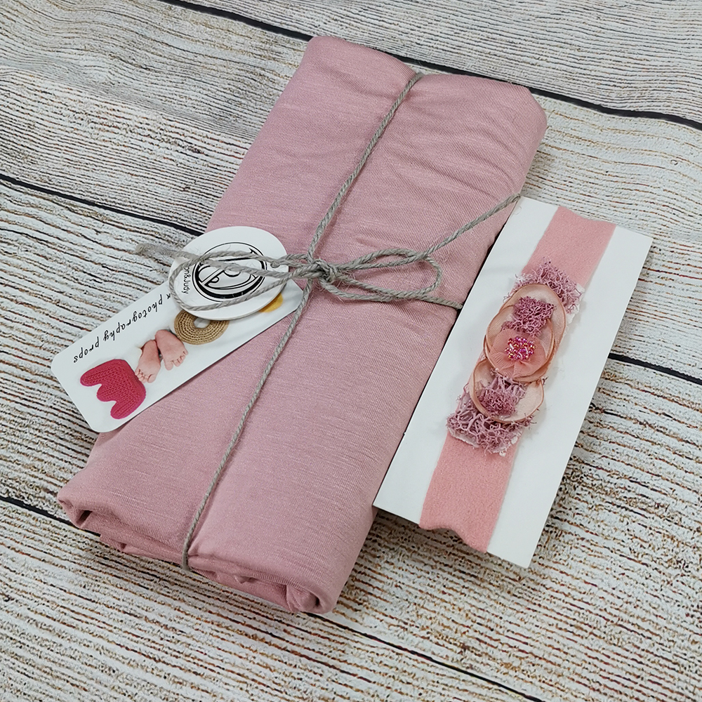 160x40cm Stretch Newborn  Wrap with Matched Headband Baby Photography Props Blanket Infant Photo Shooting Newborn Photograph