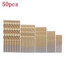 цена на 50pcs/set High Speed Steel Titanium Coated Twist Drill Bit Set Wood Drilling Hole Woodworking Wood Tool For DIY Home Building