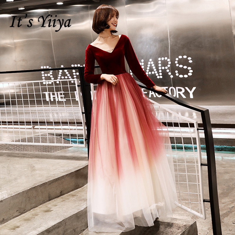 It's Yiiya Evening Dress Long Sleeve Gradient Evening Dresses Plus Size Formal Gowns Floor Length Plus Size Robe De Soiree LF149