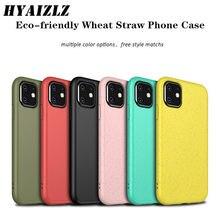 Caso de palha de trigo para o iphone 12 11 pro max se 2020 xs xr 7 8 plus eco-friendly macio tpu voltar capa cor sólida matte telefone funda