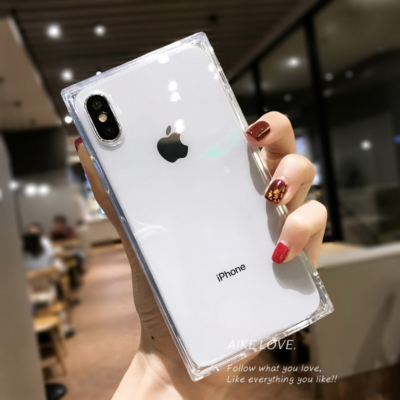 Phone Case For iPhone 11 Pro X XR XS Max 6 6s 7 8 Plus Fashion Square Design Candy color Clear Soft