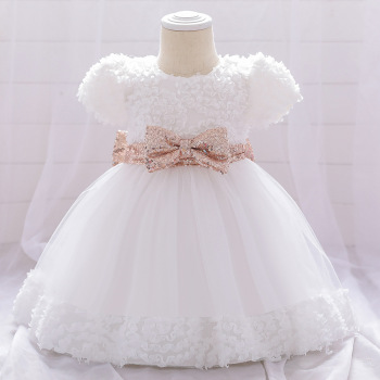 Newborn Baby Princess Flower Dress Sheer Mesh Ball Gown Front  Bow  Lace 1 year Celebration Birthday Dresses For Baby Girl newborn girl infant baby birthday wedding party dress ball gown princess lace up long sleeve front bow kids girl clothes