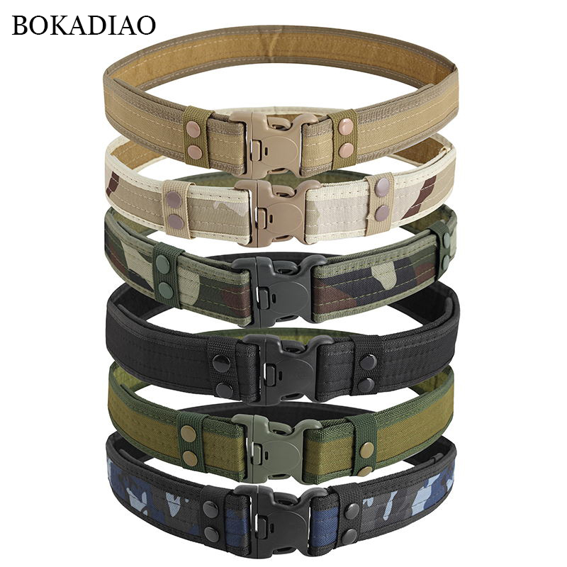 BOKADIAO Military Army Equipment Combat Man's Canvas Belt Quick Release Tactical Belt For Men Outdoor Training Hunting Waistband