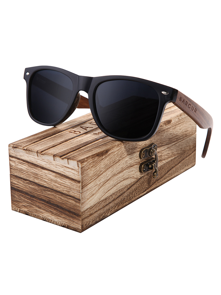 BARCUR Walnut Sunglasses Eyewear Wooden Black Original-Box Polarized UV400 Men Uv400-Protection