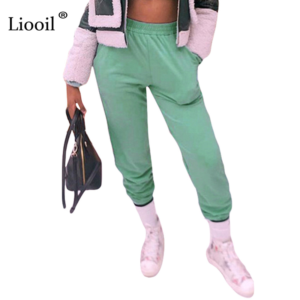 Liooil Green Cotton Baggy Sweatpants Women Bottoms Autumn Winter High Waist Trousers Streetwear Black White Joggers With Pockets