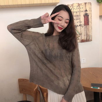 Women Spring autumn Sweater Plus size Vintage Pullover Sweater Women Long Sleeve Hollow Out Thin Female knitted sweater Top new spring summer loose women pullover sweater hollow out sexy lace knitted plaid top long sleeve thin female pullover and sweater