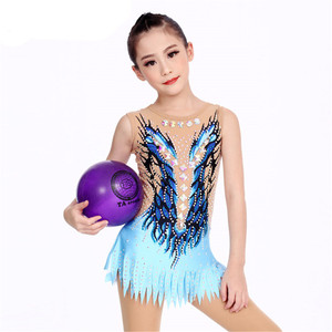 Image 4 - 劉フオ女性新体操レオタードのパフォーマンススーツ体操ドレス光沢のあるラインストーンノースリーブ子供