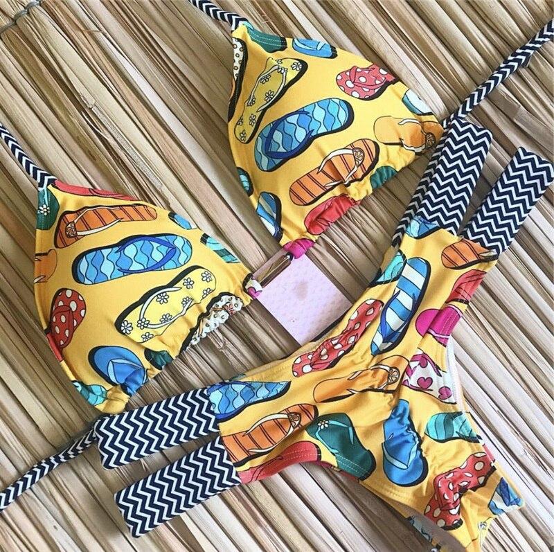 Hceb2a3ad511248cfb6a2d8d7c72a9becZ Sexy Halter Swimsuit Women Thong Micro Bikini Push Up 2019 Brazilian Bikini Tropical Plant Print Swimwear String Mini Swimsuit