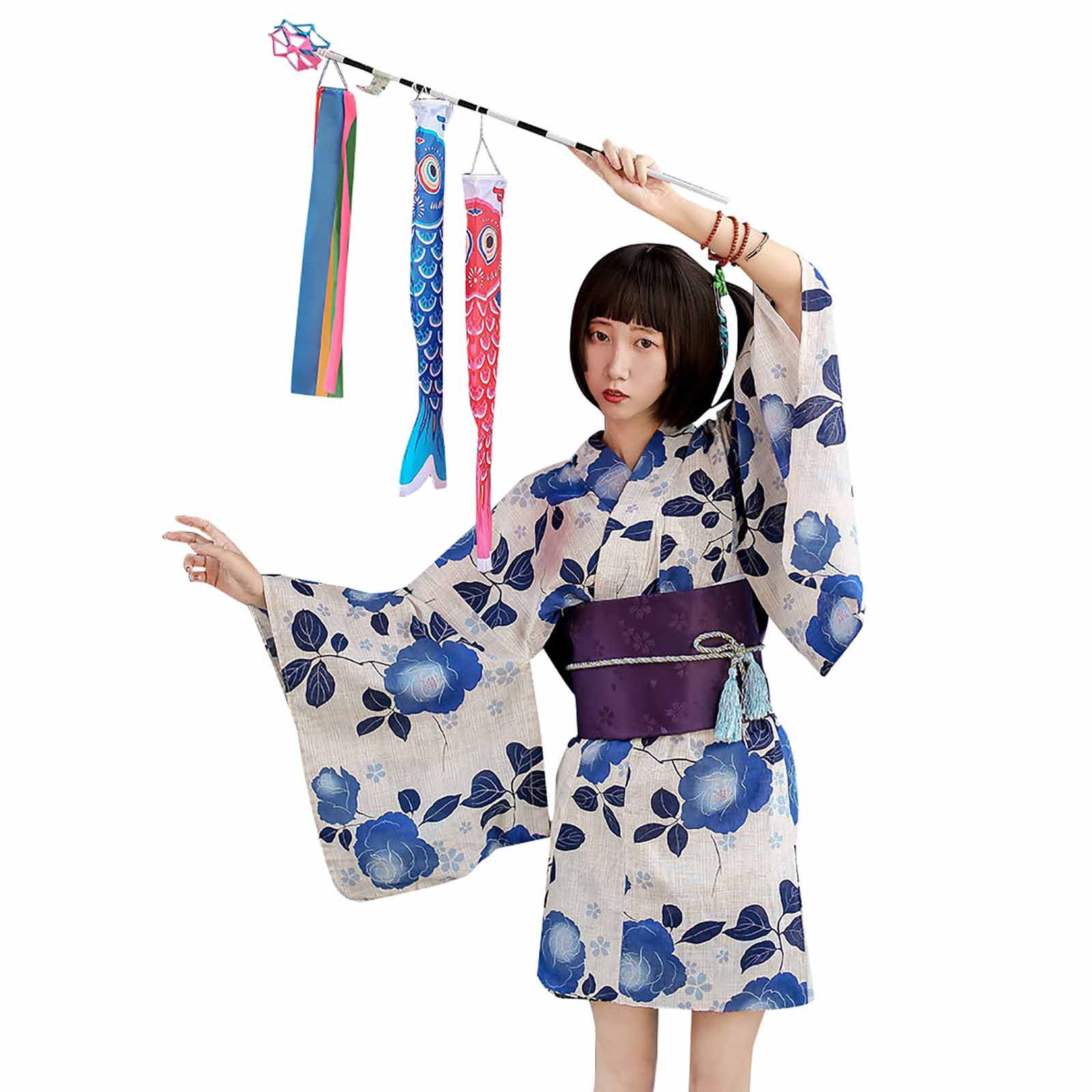 Fresh Blue Floral Short Kimono Dress Women's Cotton Linen Summer Festival Japanese Yukata Bathrobe Night Wear