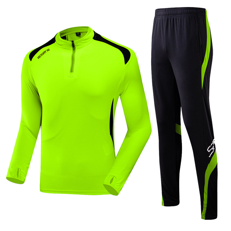Spring And Autumn New Style MEN'S SOCCER Sports Set Long Sleeve Trousers Two-Piece Set Breathable Fitness Running Training Sport