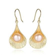 YUEYIN Silver 925 Earrings Gold Plated Nature Pearl Shell Cute Korean Women Gothic