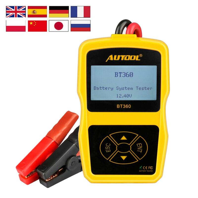 AUTOOL BT360 Car Battery Tester Analyzer Digital 12V Auto For Flooded AGM GEL BT-360 Automotive Batterys Analyzer CCA