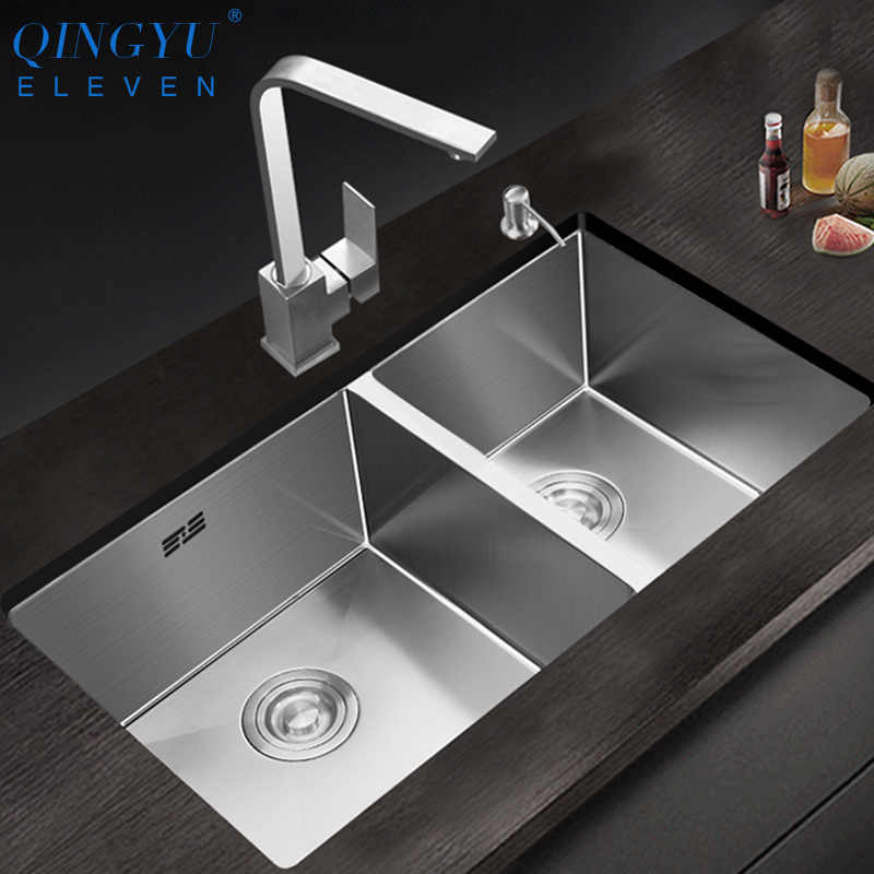 large size double sink 304 stainless steel thicken double bowl kitchen sink undermount double bowl kitchen sink