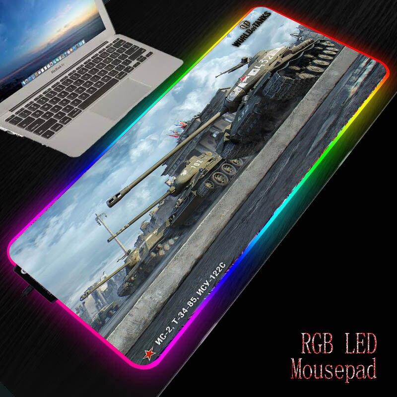 Mairuige World Of Tanks LED Gaming Mouse Pad RGB Large Gamer Mousepad USB Backlit  Rubber Computer Mat Keyboard Desk