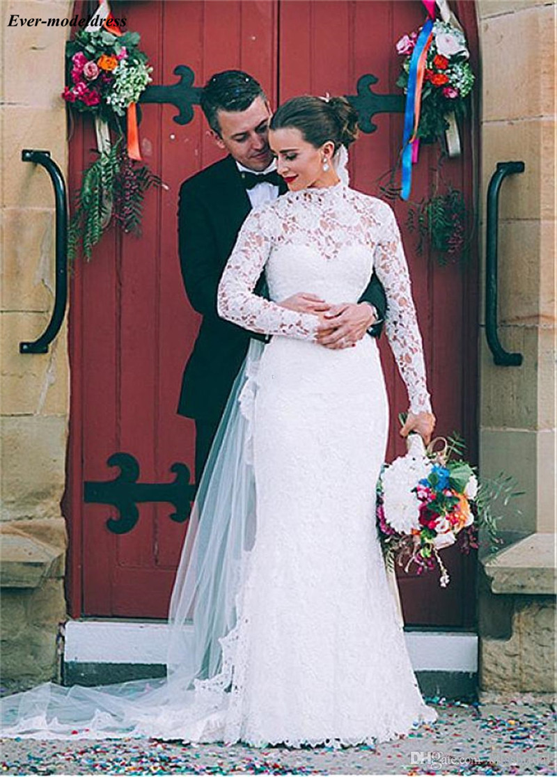 Mermaid Lace Wedding Dresses Long Sleeves O-Neck Button Back Bride Dress Bridal Gowns Vestidos De Noiva Robe De Mariage 2019
