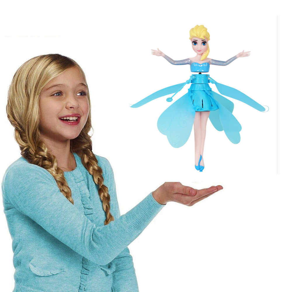 Anticollision Induction Little Anna Princess DollsSuspension Flying Doll Toys Mini RC Drone Girl Children's Gift Figure Toys