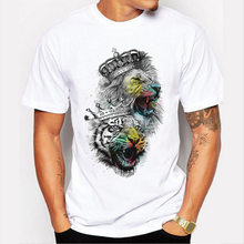 Mannen Tops 2020 Zomer Kroon Leeuw 3D Wit Heren T-shirt Fashion Animal Print T-shirt Mannen Toevallige Korte Mouwen tee Shirt Homme 3XL(China)