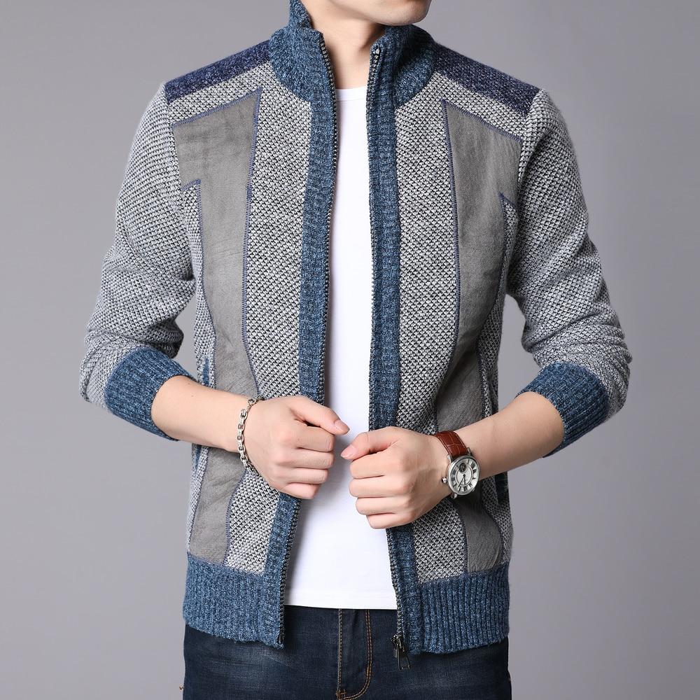 Men Patchwork Sweater Coat Winter Thick Warm Sweater Men Cardigan Jumpers Cashmere Wool Liner Zipper Fleece Coats Men MWK014