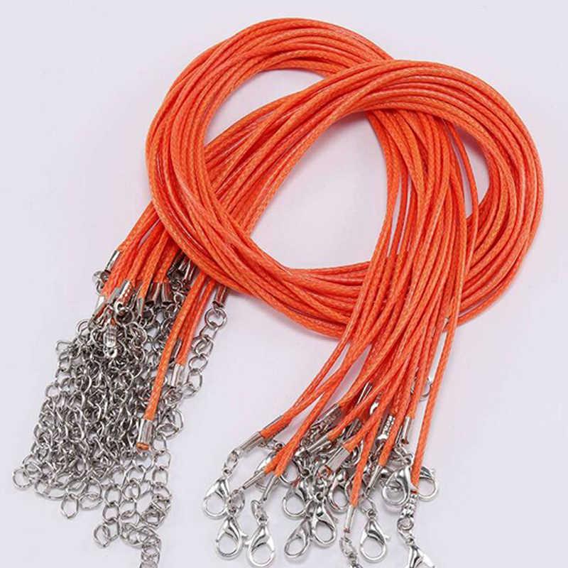 Moda czarny brązowy skórzany wosk liny naszyjnik ze sznurka łańcuch DIY ciąg pasek liny karabińczyk skórzane łańcuchy biżuteria