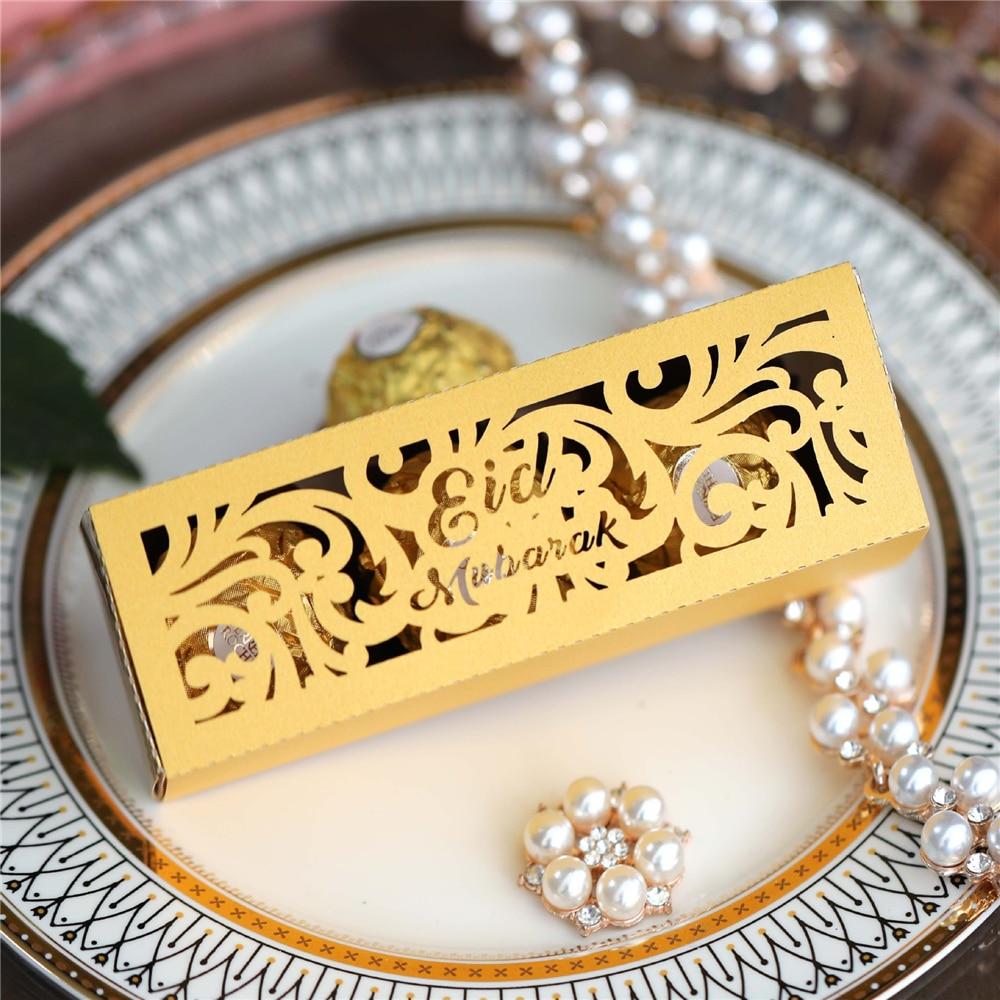 10pcs Eid Mubarak Box Ramadan Kareem Favor Gift Boxes DIY Candy Box Islamic Muslim Festival Happy Al-Fitr Eid Mubarak Decoration