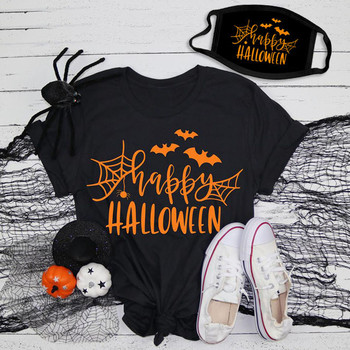 2020 Women's Tops Halloween Shirt Filter O-neck T-shirts With Face Cover Short Sleeve Printed Blusas оверсайз футболка
