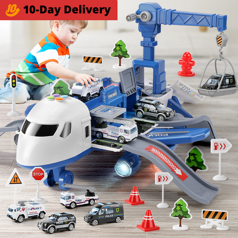 Large Size Passenger Plane Deformation Music Simulation DIY Track Inertia Toy Aircraft Kids Airplane Toy for Children's Day Gift