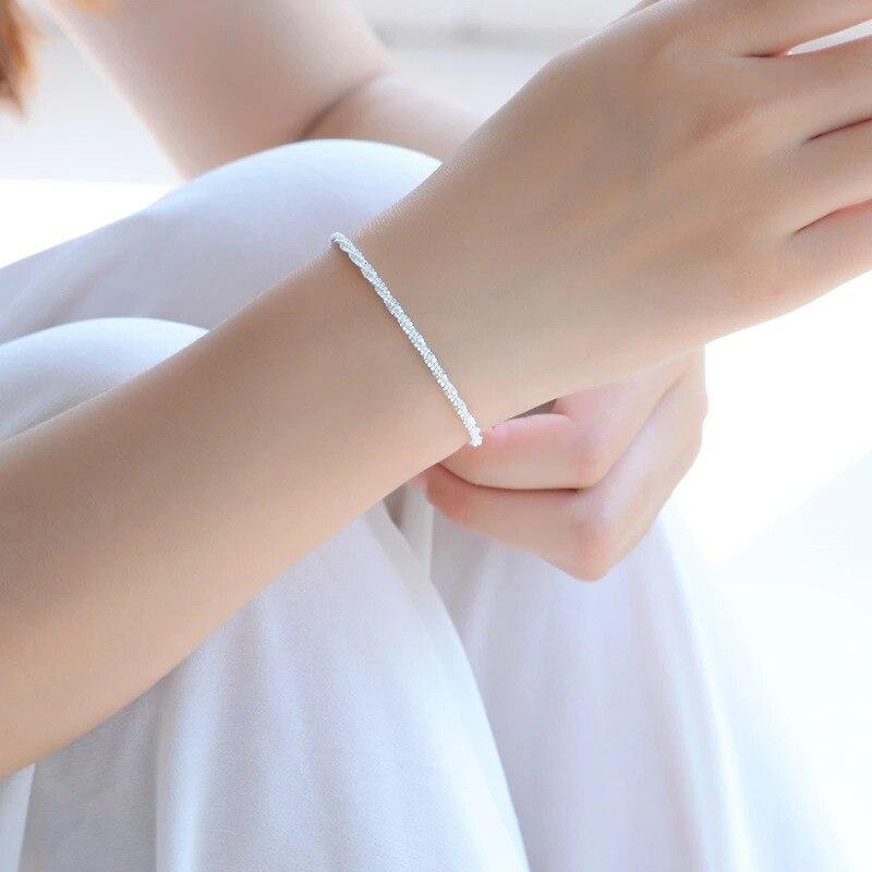 Regalo Fine del braccialetto di modo dei braccialetti di modo dell'argento sterlina 925 dei braccialetti d'argento di alta qualità di trasporto libero 2