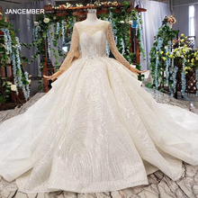 HTL165G ball gown wedding dress with train o neck long sleeves lace bride dress real price платье облако