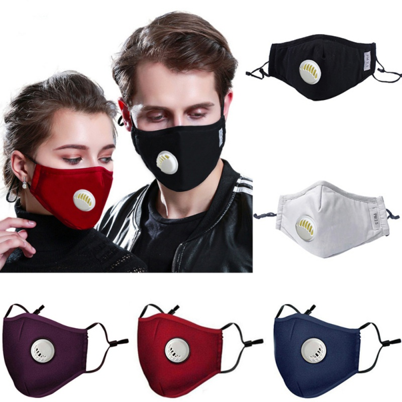 Reusable 2 Filters Easy Breathe Washable Face Mask PM2.5 Mask Dust Mask With Filters