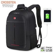 Многофункциональный рюкзак Crossten для ноутбука 15,6 дюйма, чехол с usb портом для зарядки, дорожная сумка для походов, школьные сумки