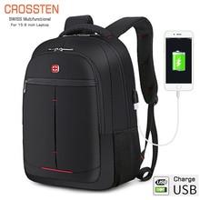 "Crossten Multifunctional 15.6"" Laptop Backpack sleeve case bag USB Charge Port Schoolbag Hiking Travel bag School bags"
