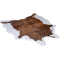 American style living room cowhide carpet brown white irregular floor mat for bedroom