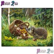 Алмазная живопись с животными вышивка лес Ежик корзина гриб